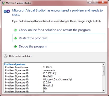 VS2010 Schema Compare Crashing – Nicholas Barger's Blog