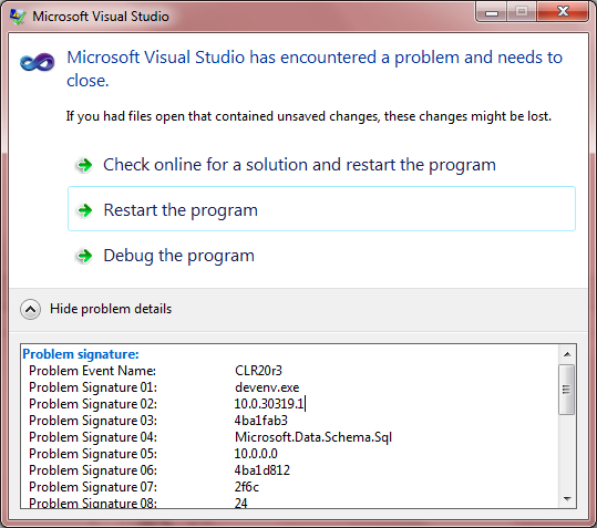 VS2010 Schema Compare Crash