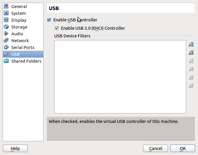 VirtualBox Enable USB 2.0 Screenshot