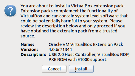 Install VirtualBox Extension Pack Screenshot